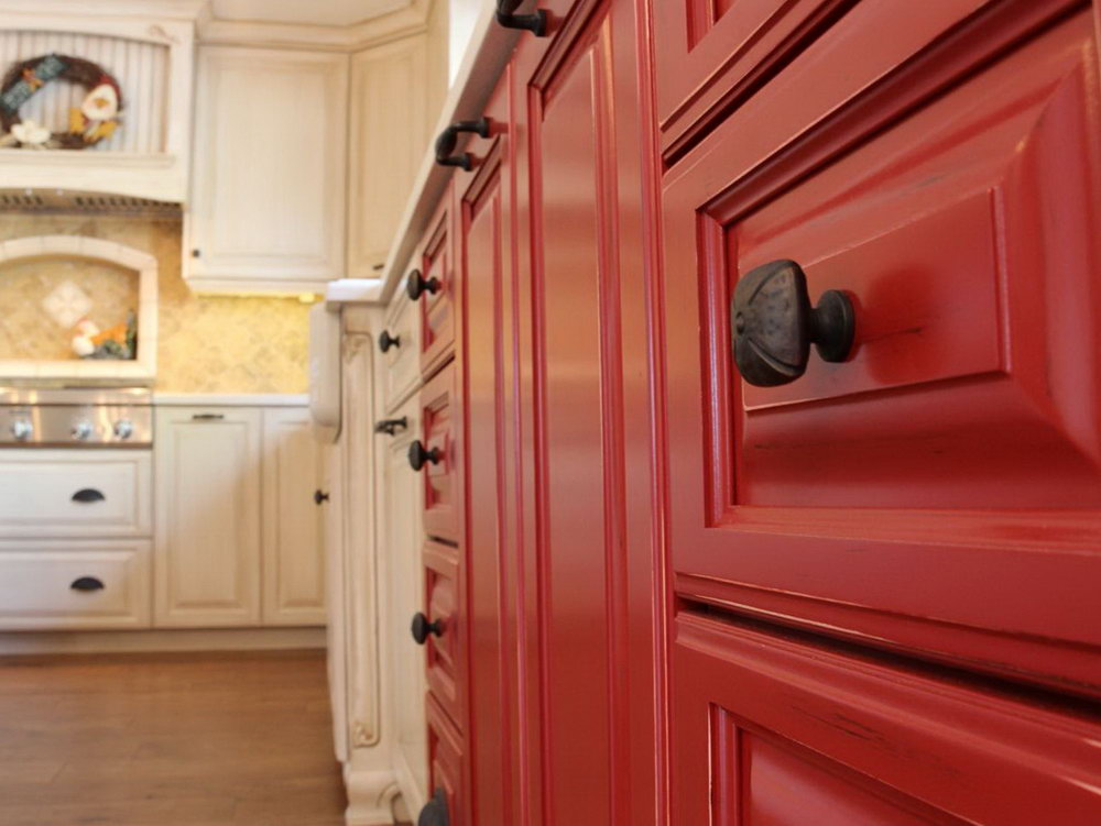 Country Kitchen Cabinets Red