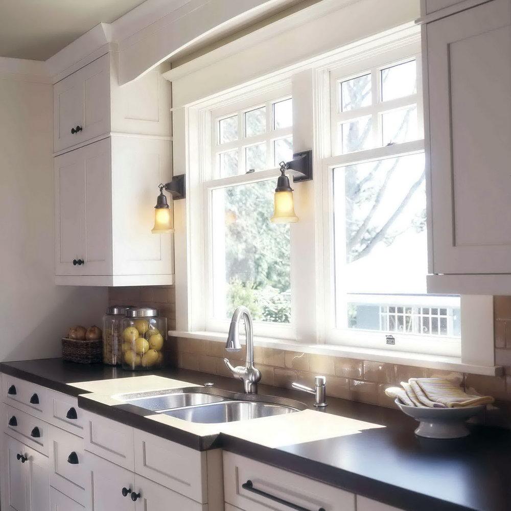Craftsman Style White Kitchen Cabinets