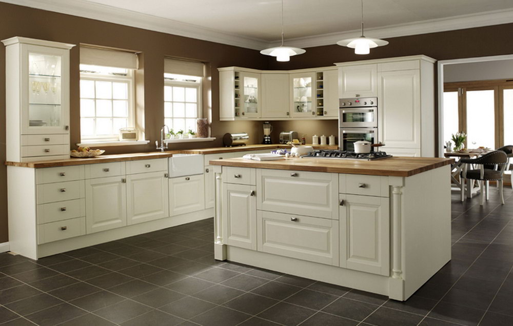 Cream Colored Glazed Kitchen Cabinets