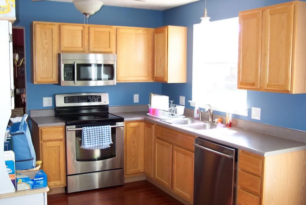 Dark Brown Kitchen Cabinets With Blue Walls