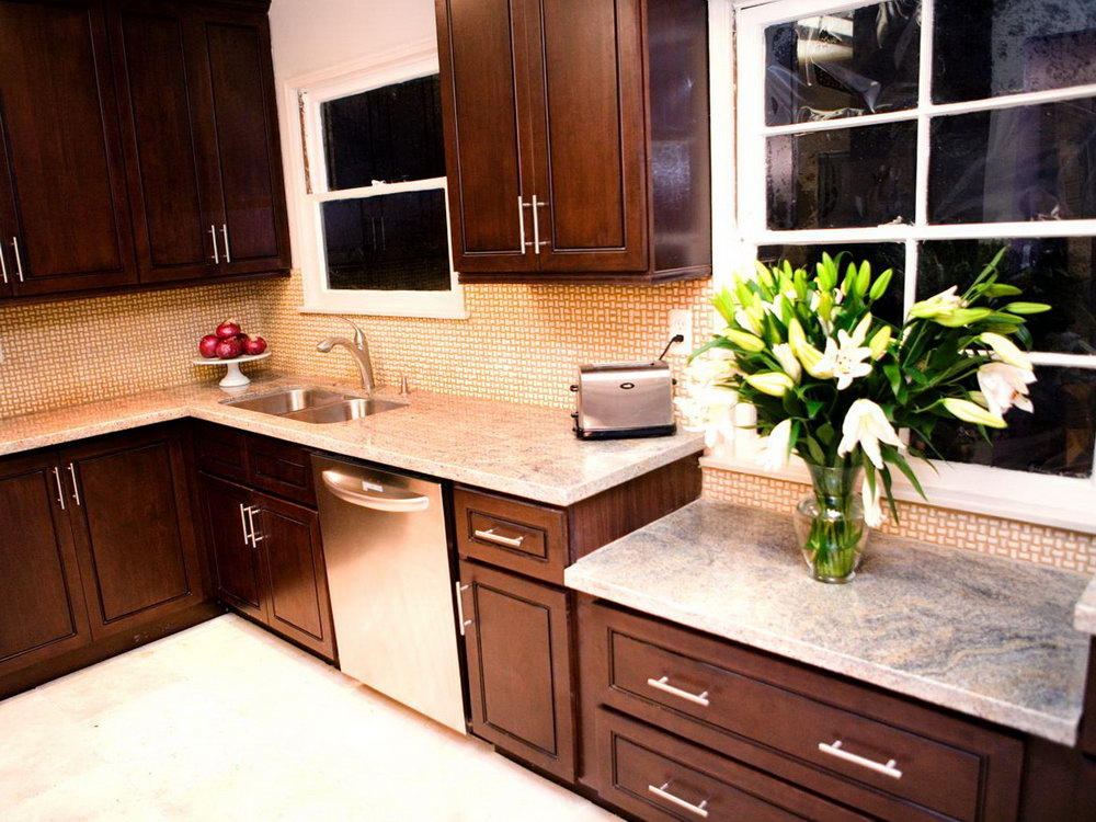 Dark Brown Kitchen Cabinets With Light Countertops