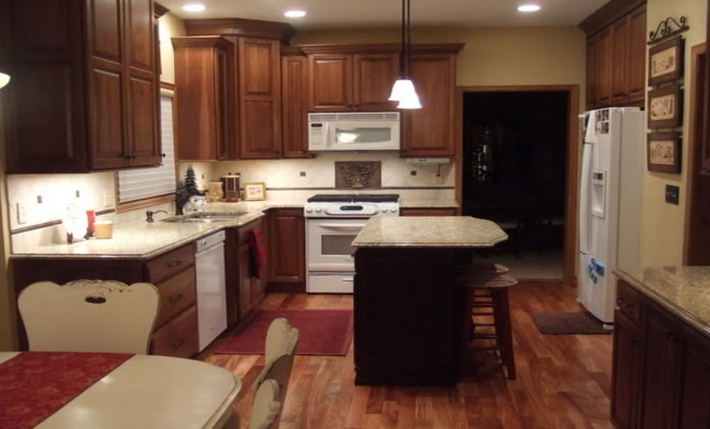 Dark Brown Kitchen Cabinets With White Appliances