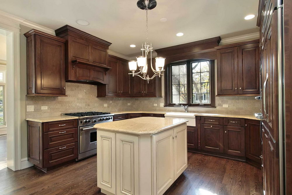 Dark Brown Kitchen Cabinets With White Island