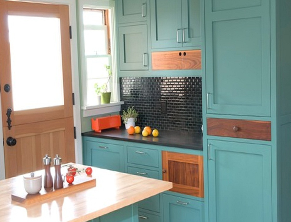Dark Turquoise Kitchen Cabinets
