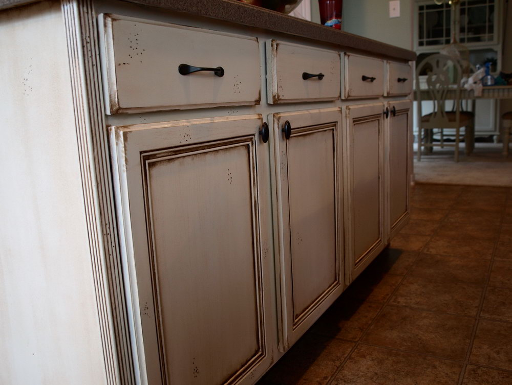 Distressed Antique White Kitchen Cabinets