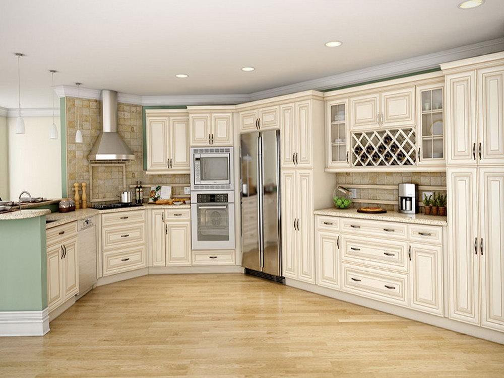 Distressed Cream Colored Kitchen Cabinets