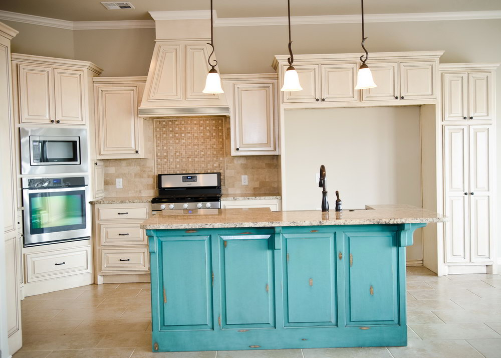 Distressed Turquoise Kitchen Cabinets