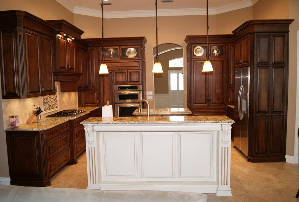 Espresso Kitchen Cabinets With White Island