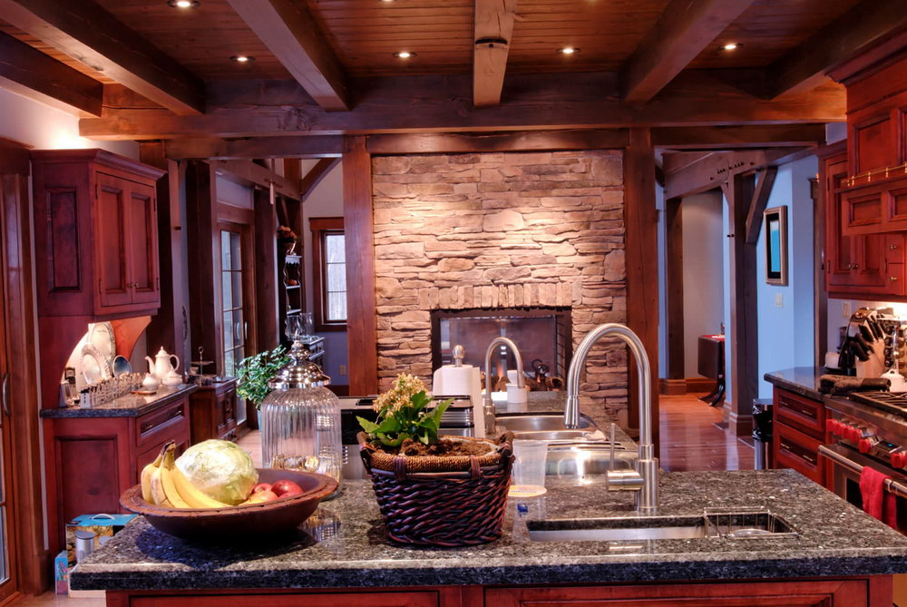 French Country Kitchen With Cherry Cabinets