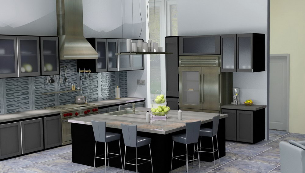 Frosted Glass Door Kitchen Cabinets