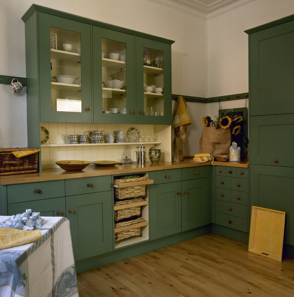 Green Beadboard Kitchen Cabinets
