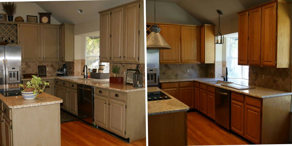 Kitchen Cabinet Resurfacing Before And After