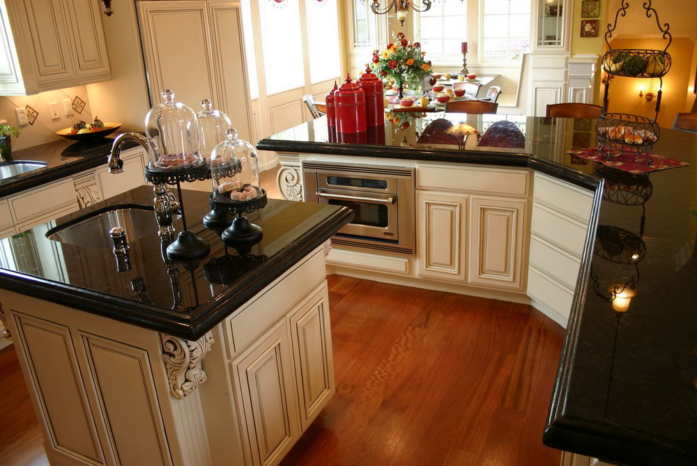 Kitchen Cabinets Black Granite Countertops