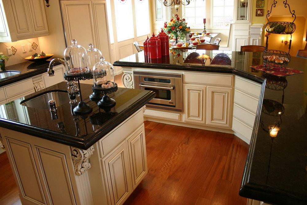 Kitchen Cabinets Black Granite Countertops