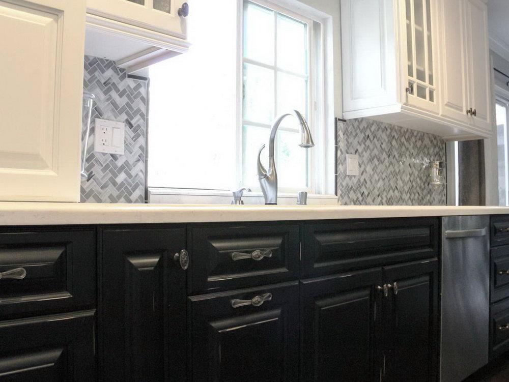 Kitchen Cabinets Black Lower White Upper