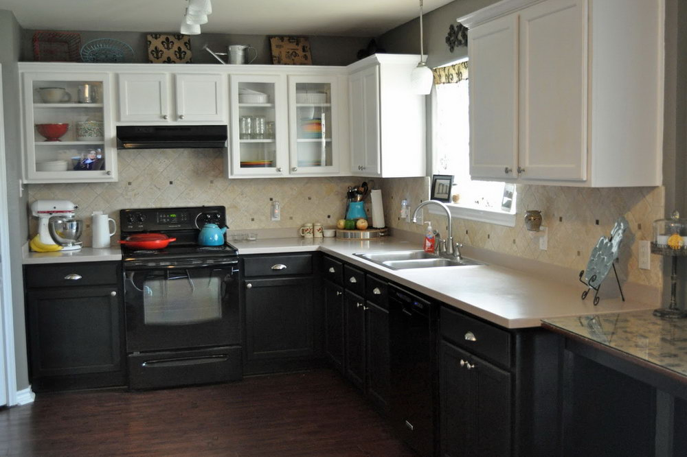 Kitchen Cabinets Black On Bottom White On Top