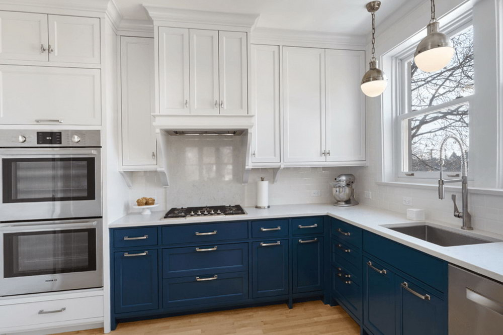 Kitchen Cabinets White And Blue