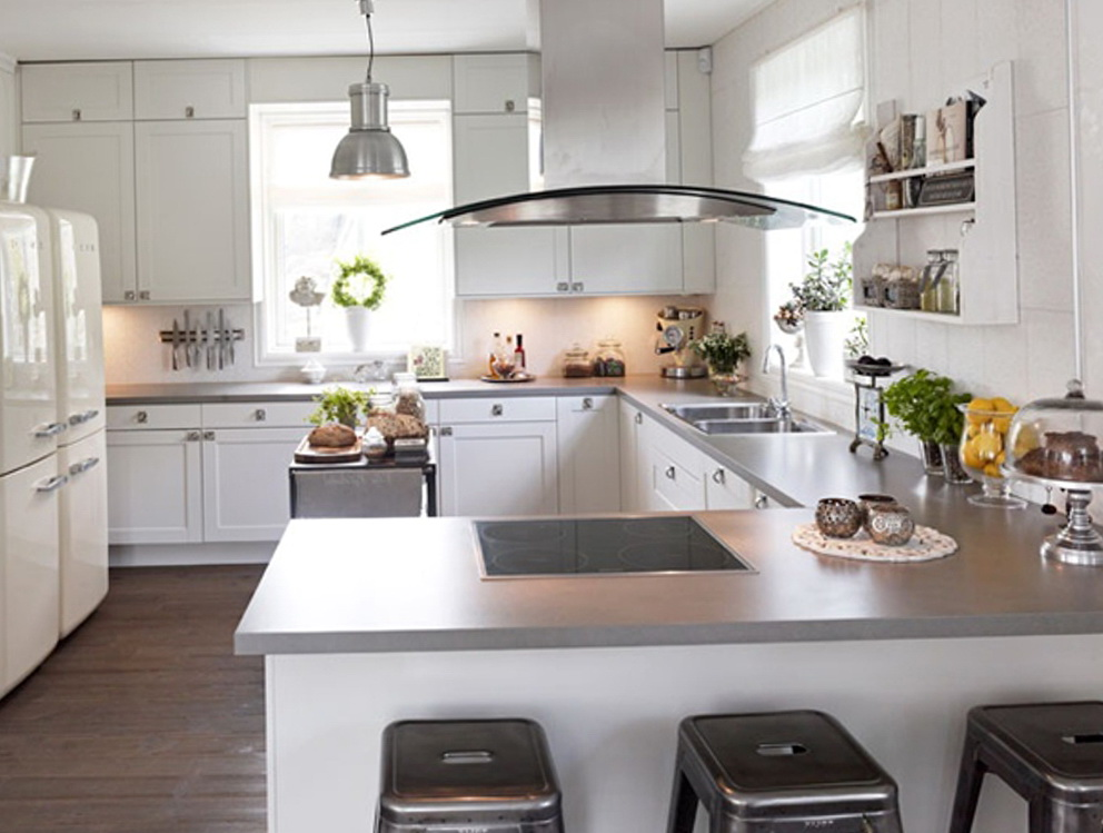 Kitchen White Cabinets Gray Countertops