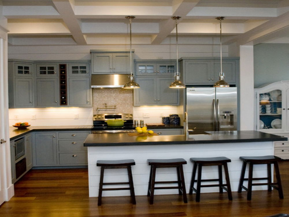 Light Gray Kitchen Cabinets With Black Countertops