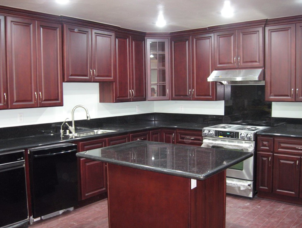 Red Cherry Cabinets Kitchen