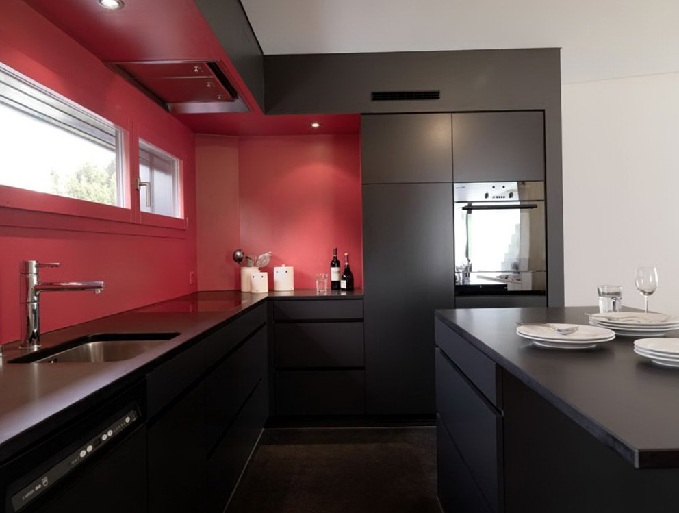 Red Kitchen Black Cabinets
