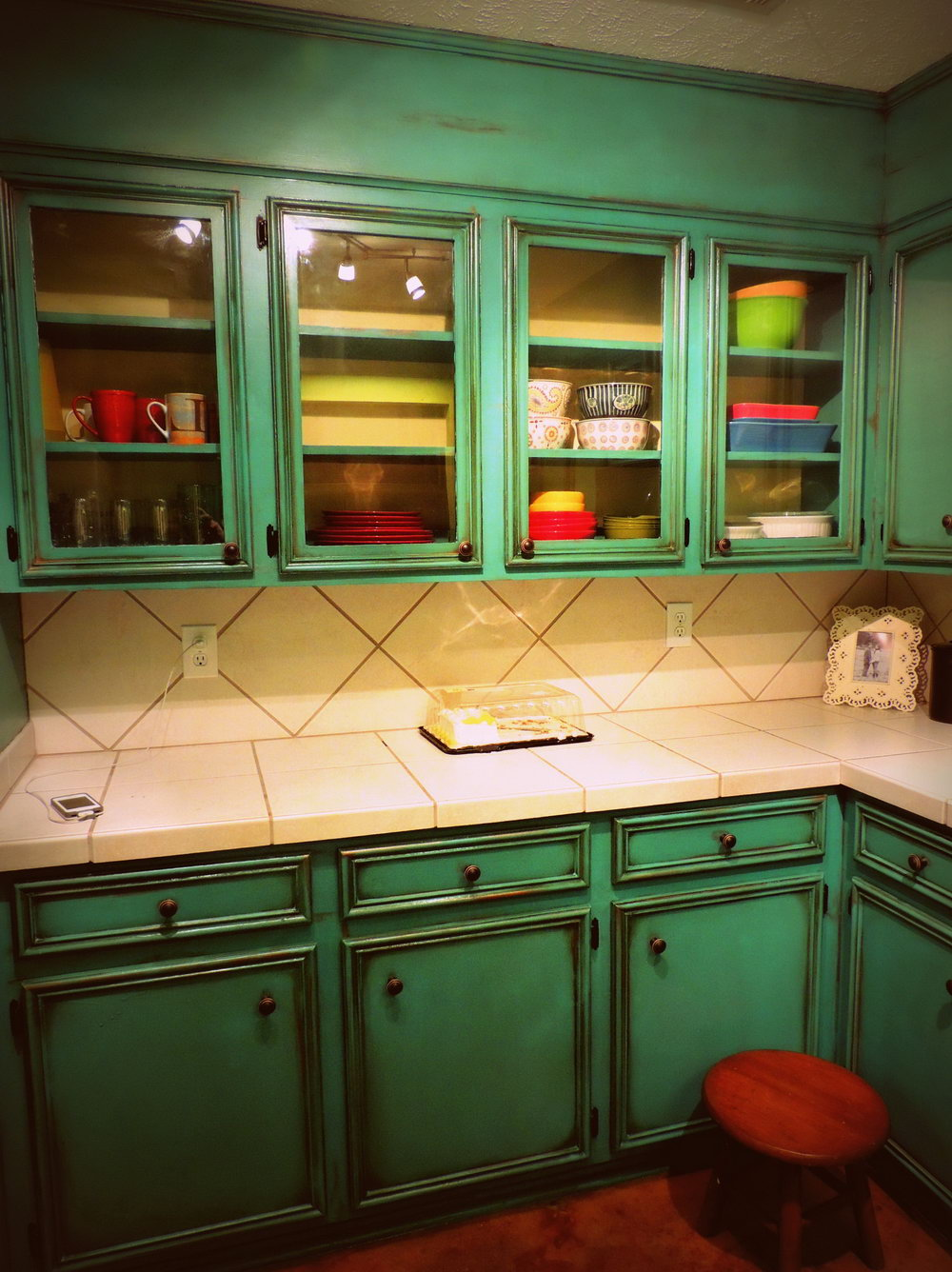 Rustic Turquoise Kitchen Cabinets