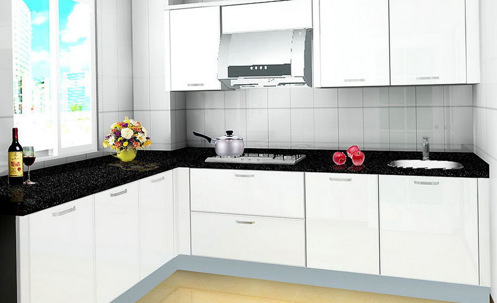 Small Kitchen White Cabinets Black Countertop