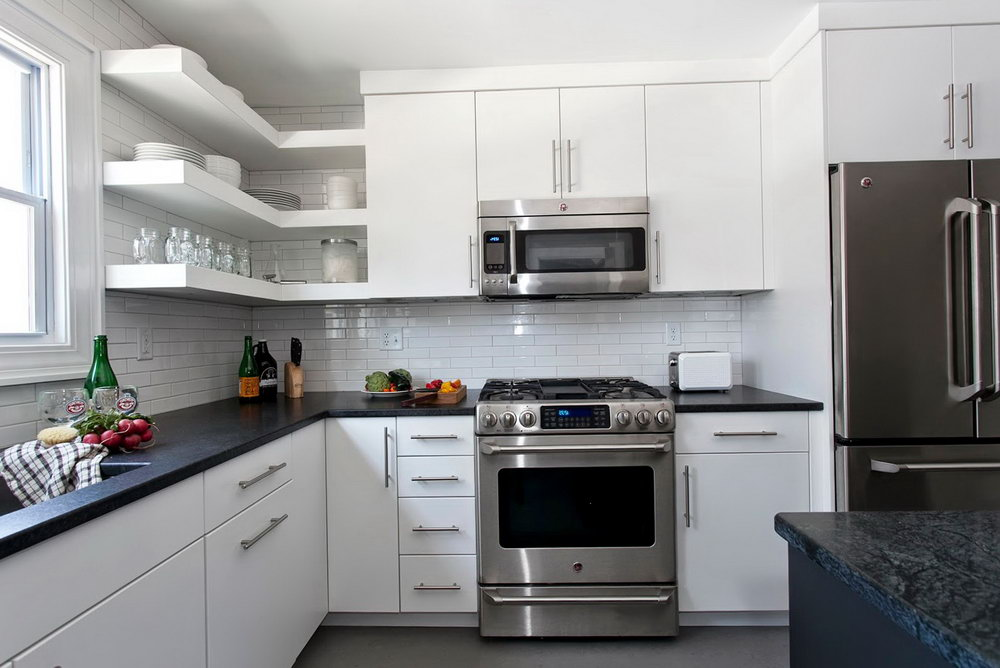 Small Kitchen White Cabinets Stainless Appliances