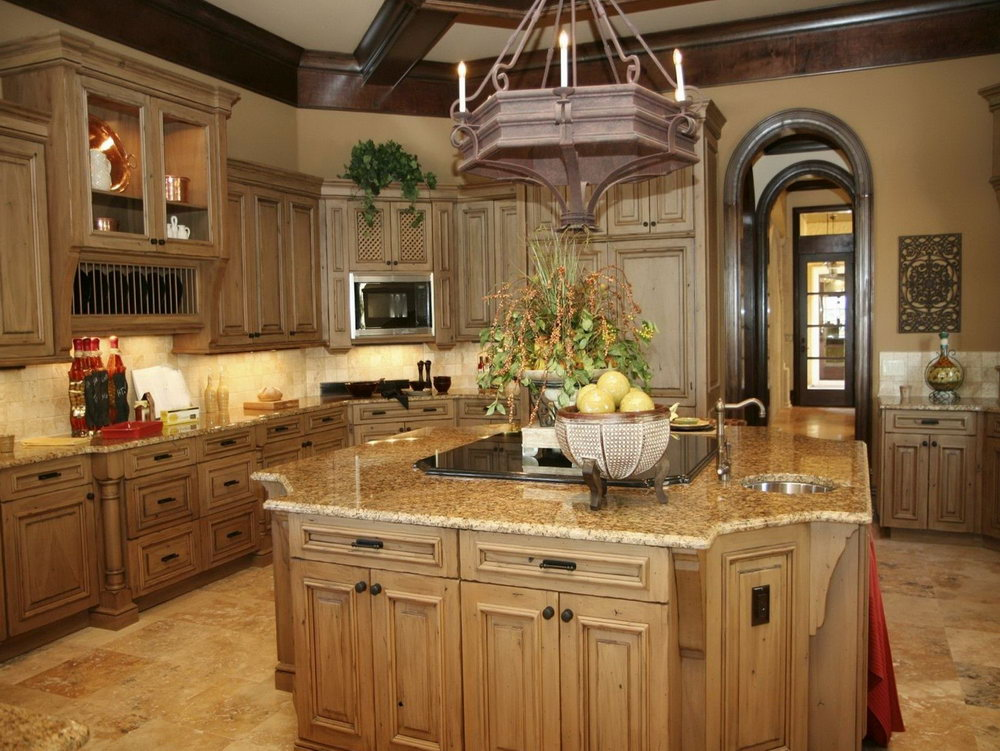 Stained Pine Kitchen Cabinets