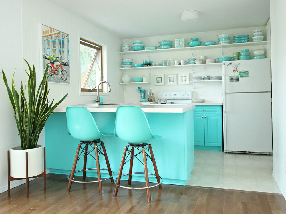 Turquoise And White Kitchen Cabinets