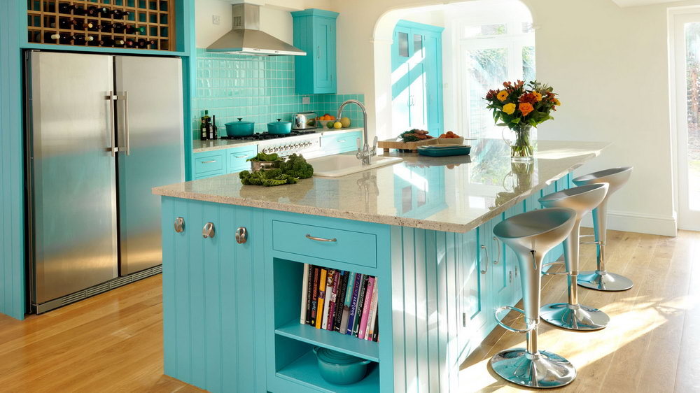Turquoise Blue Kitchen Cabinets