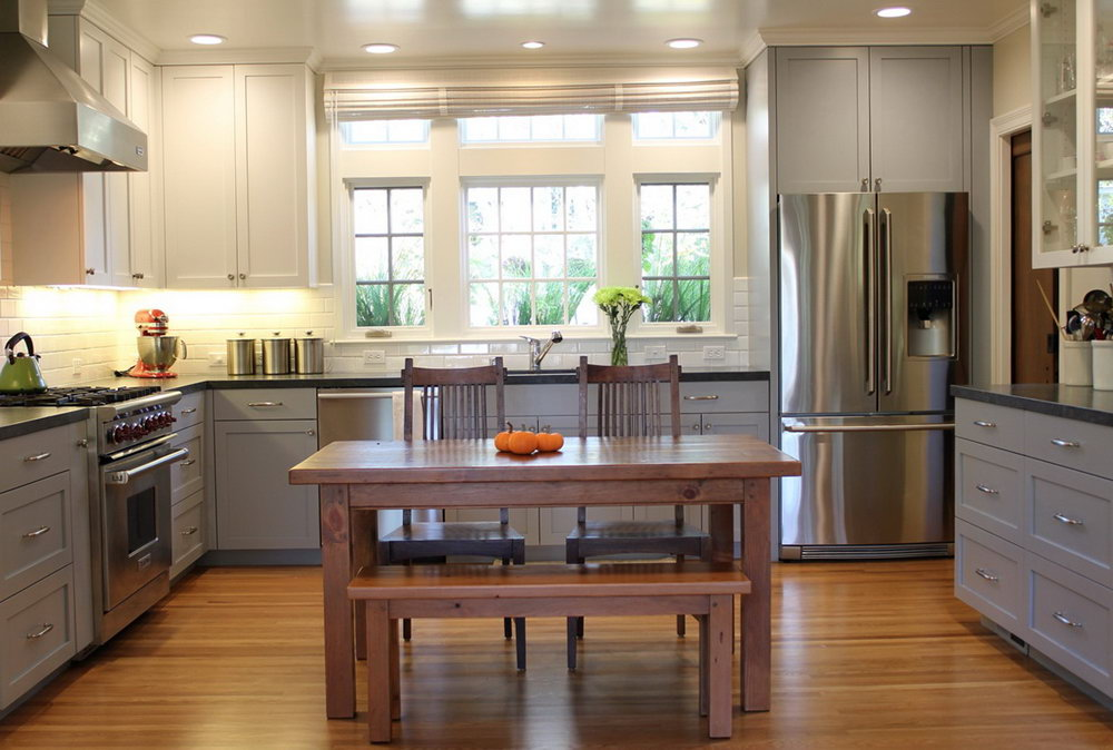 Two Toned Wood Kitchen Cabinets