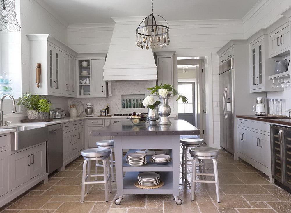 White And Gray Cabinets Kitchen
