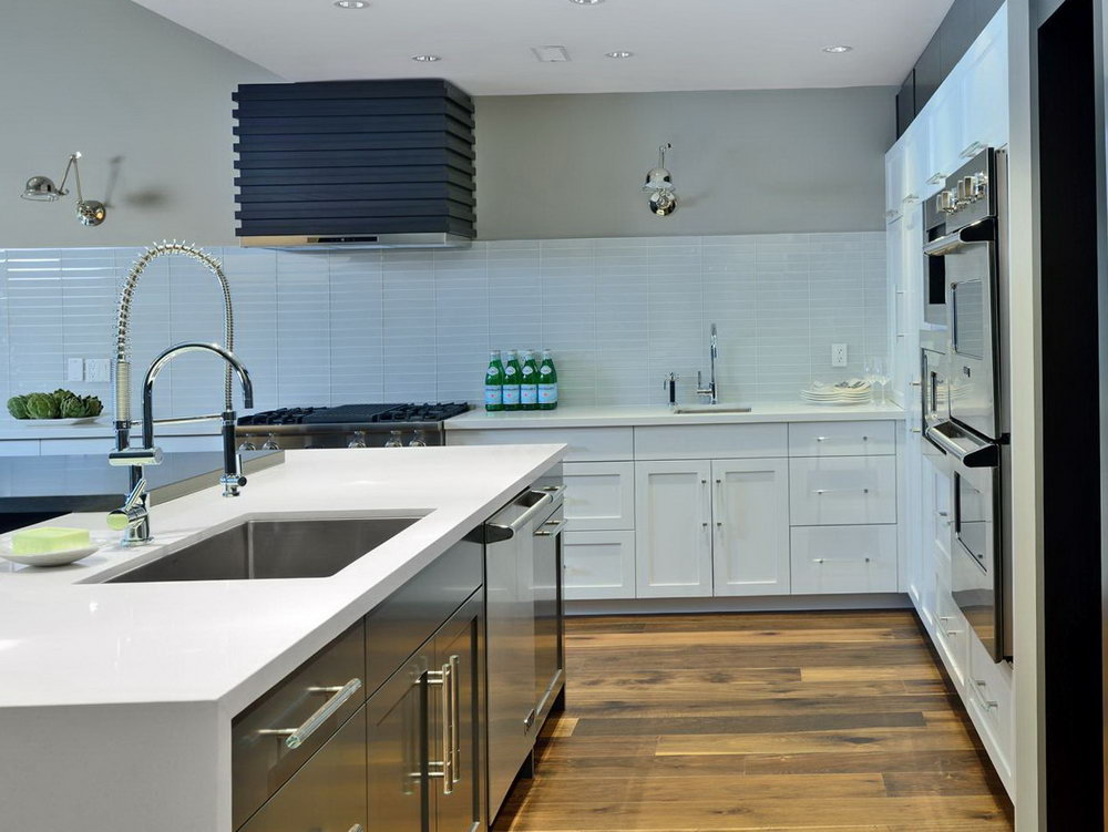 White Kitchen Without Upper Cabinets