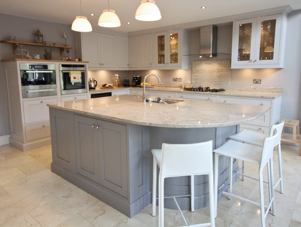 White Shaker Kitchen Cabinets With Grey Island