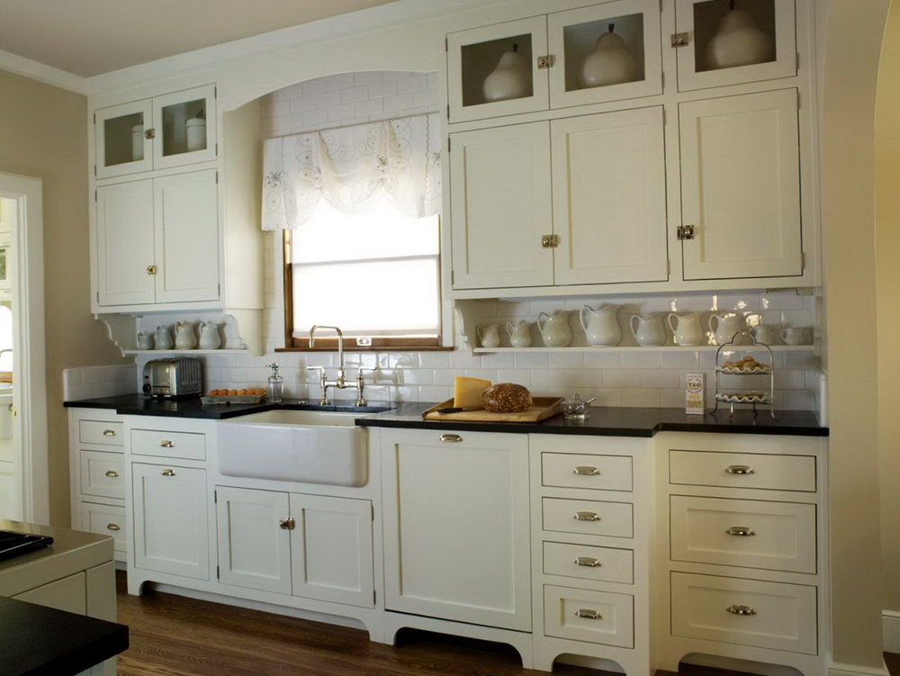 White Vintage Kitchen Cabinets
