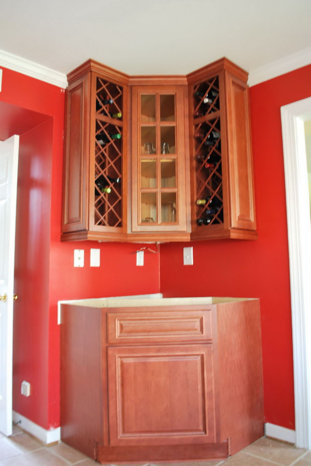 Wine Red Kitchen Cabinets