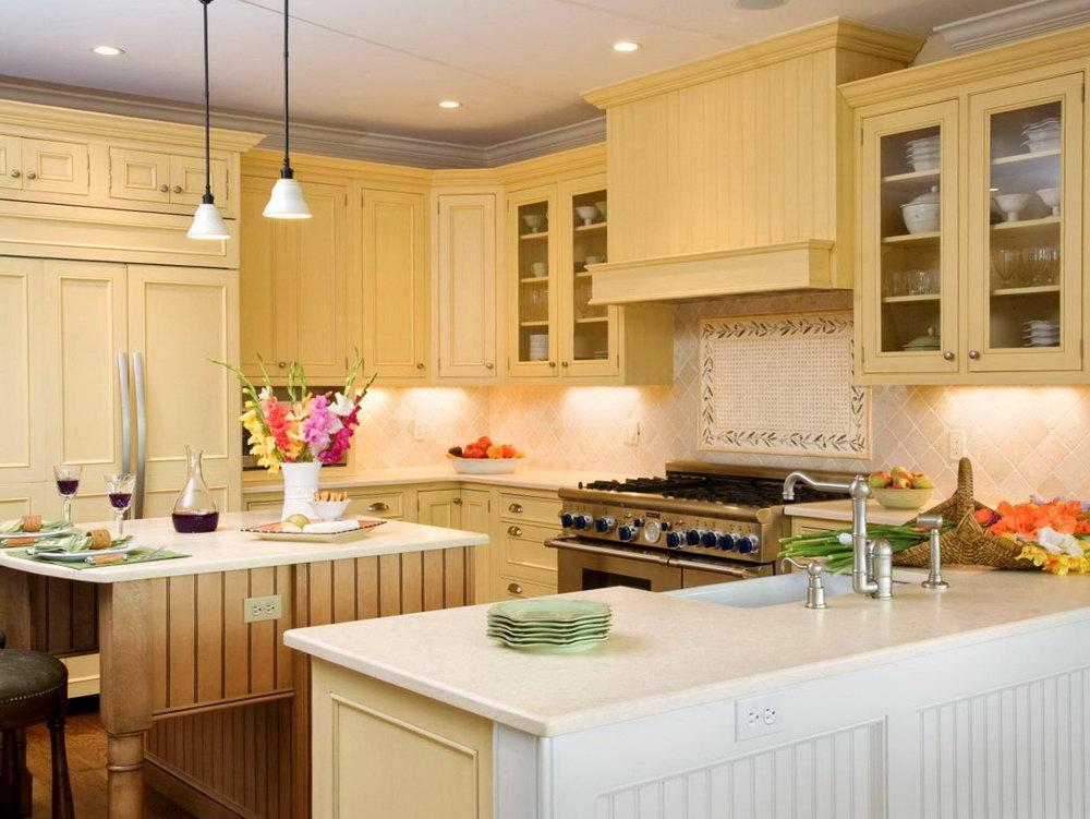 Yellow Kitchen Cabinets White Walls