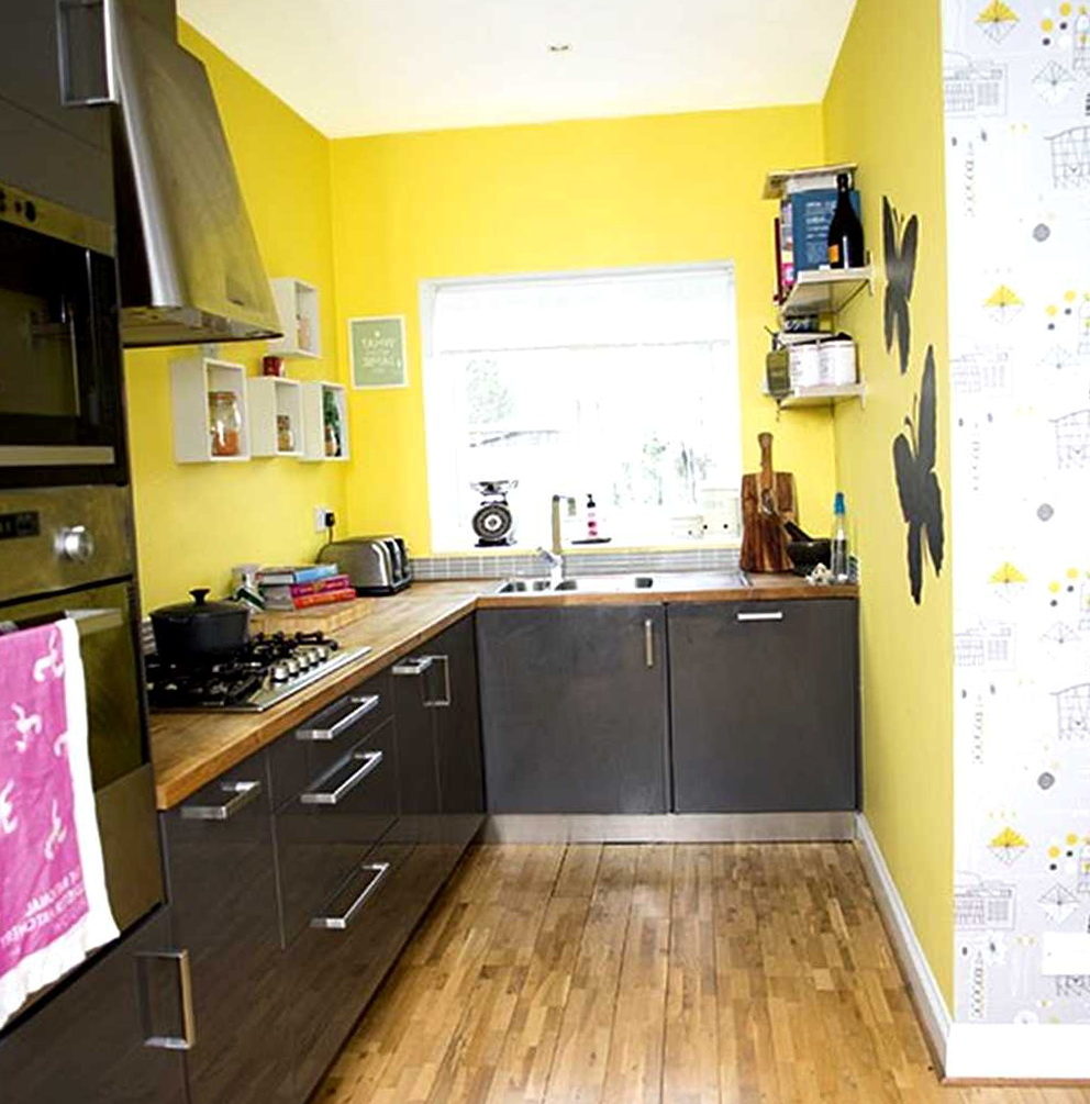 Yellow Kitchen Cabinets With Grey Walls