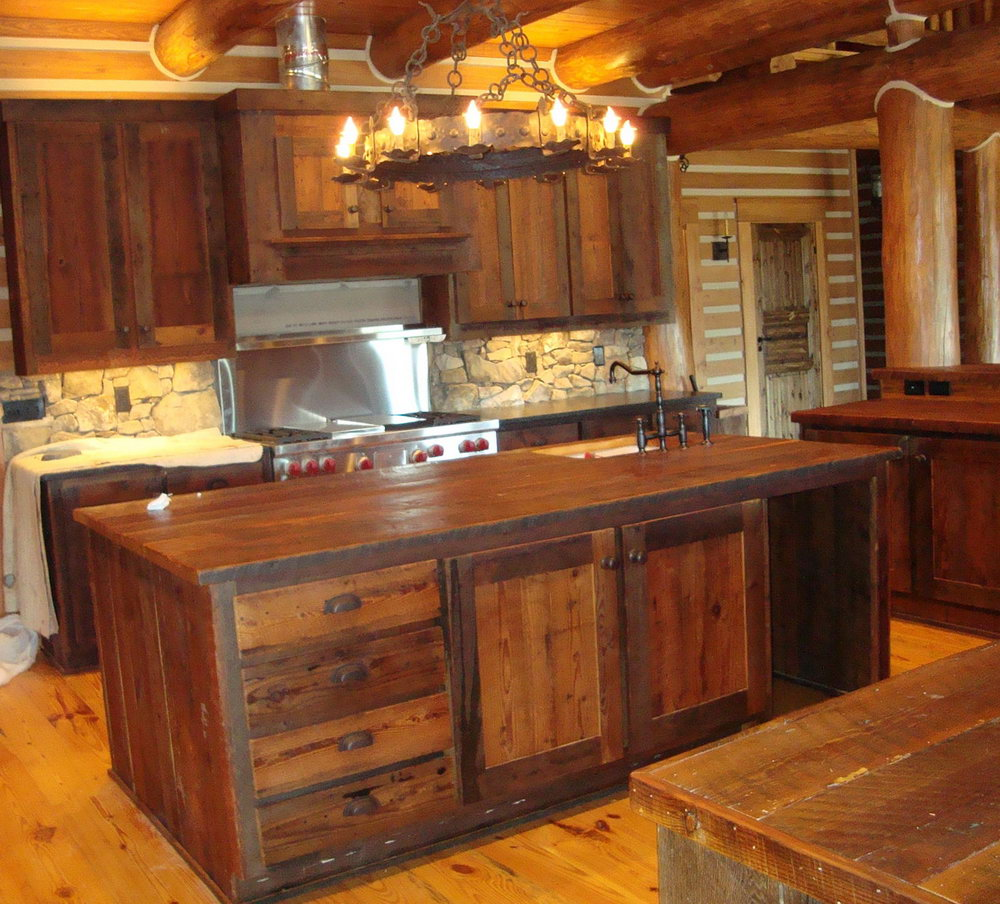 Barn Wood Cabinets Kitchen