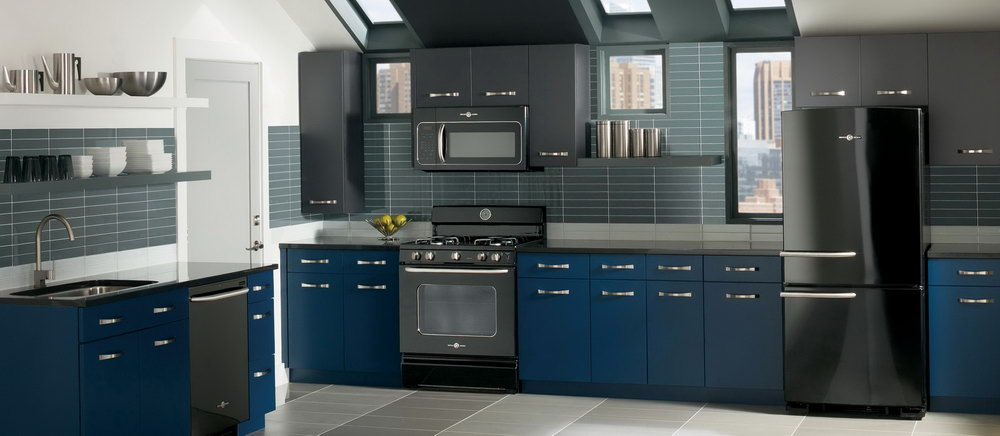 Blue Kitchen With Black Cabinets