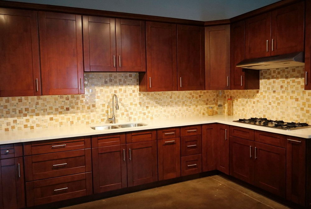 Brown Mahogany Kitchen Cabinets