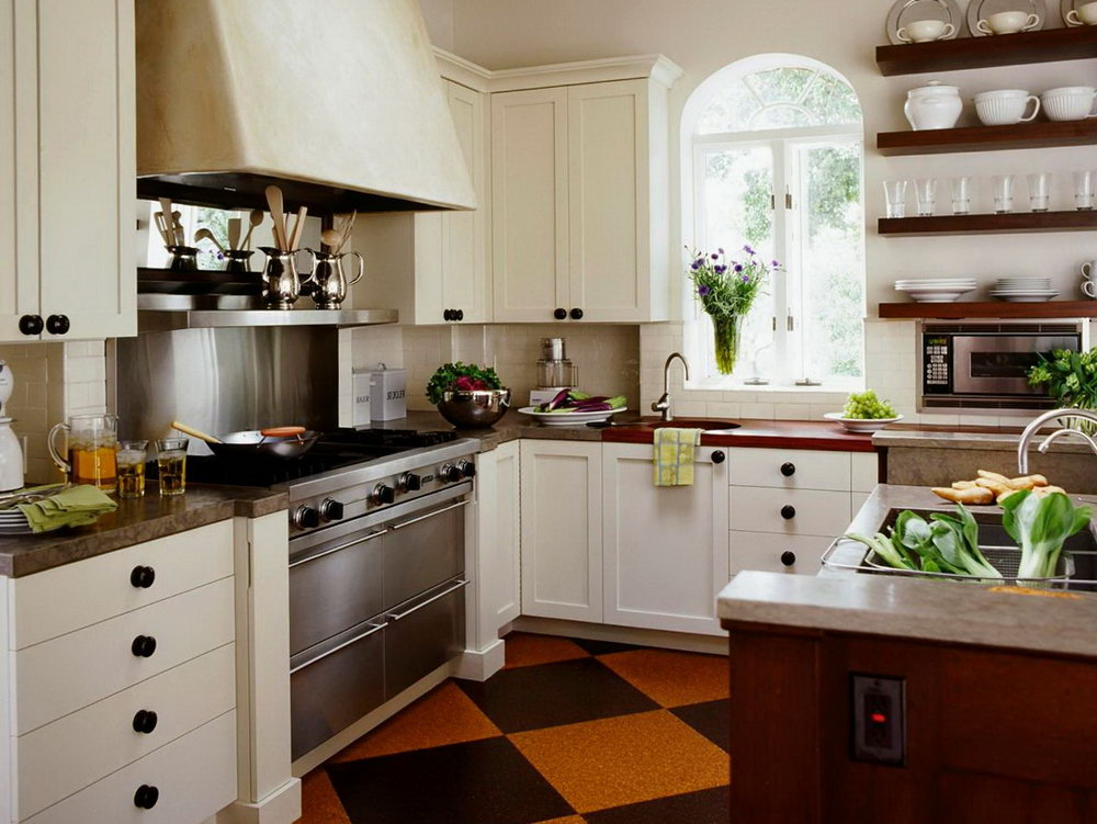 Country Style Kitchen With White Cabinets