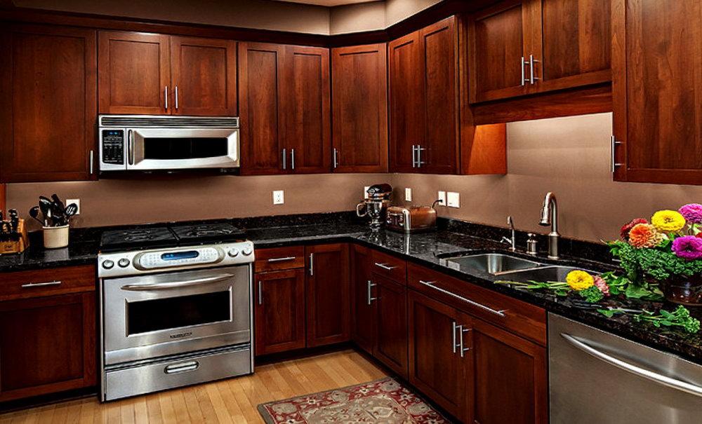 Dark Cherry Kitchen Cabinets With Granite Countertops