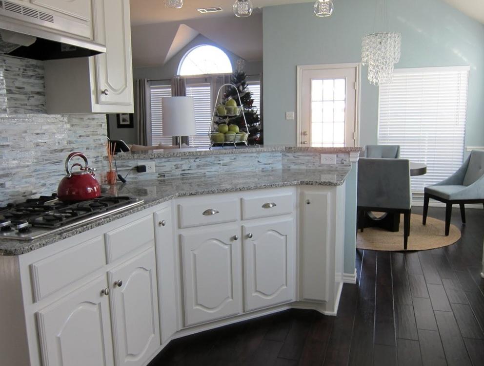 Dark Gray Kitchen With White Cabinets