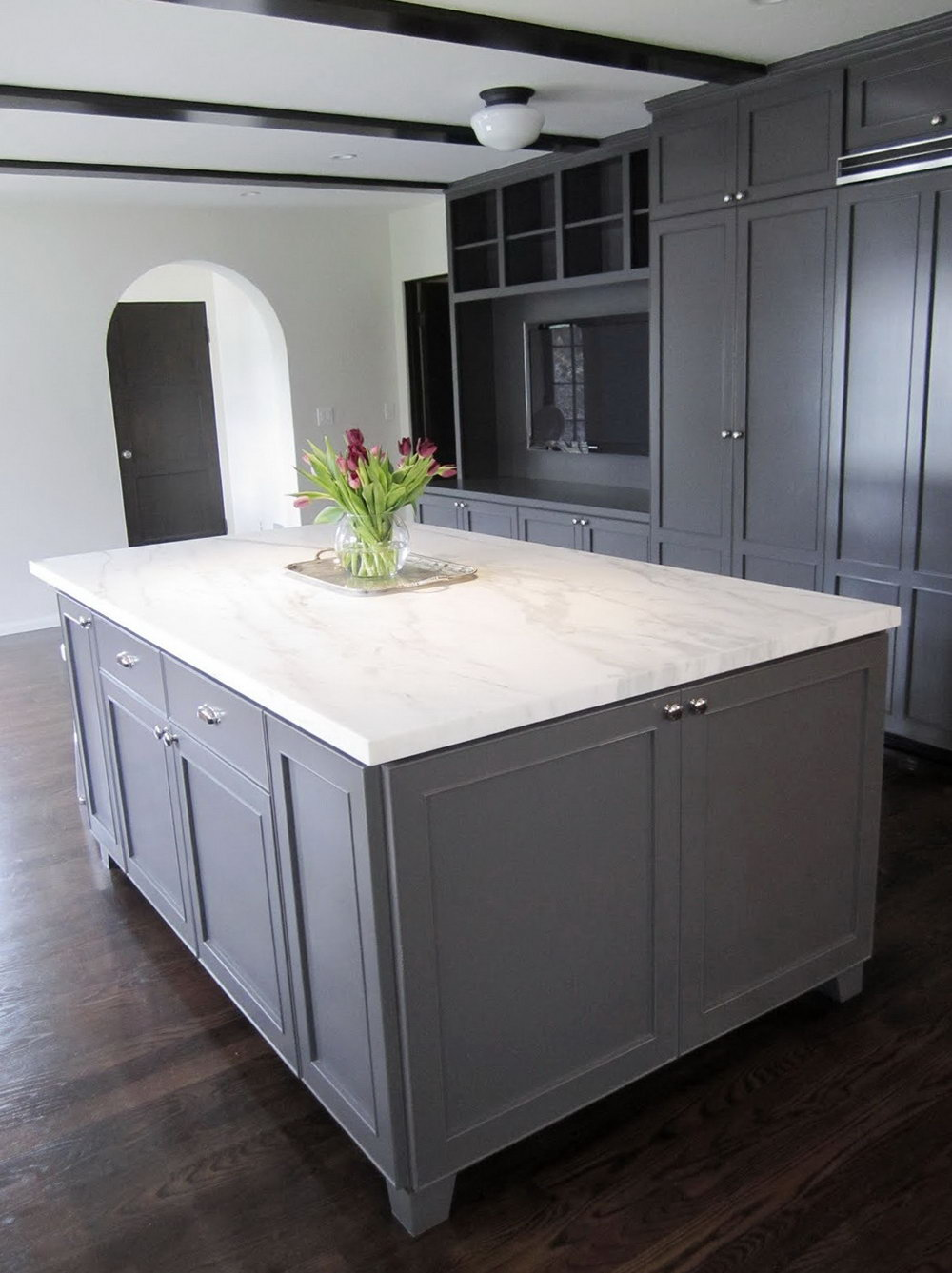 Dark Gray Painted Kitchen Cabinets