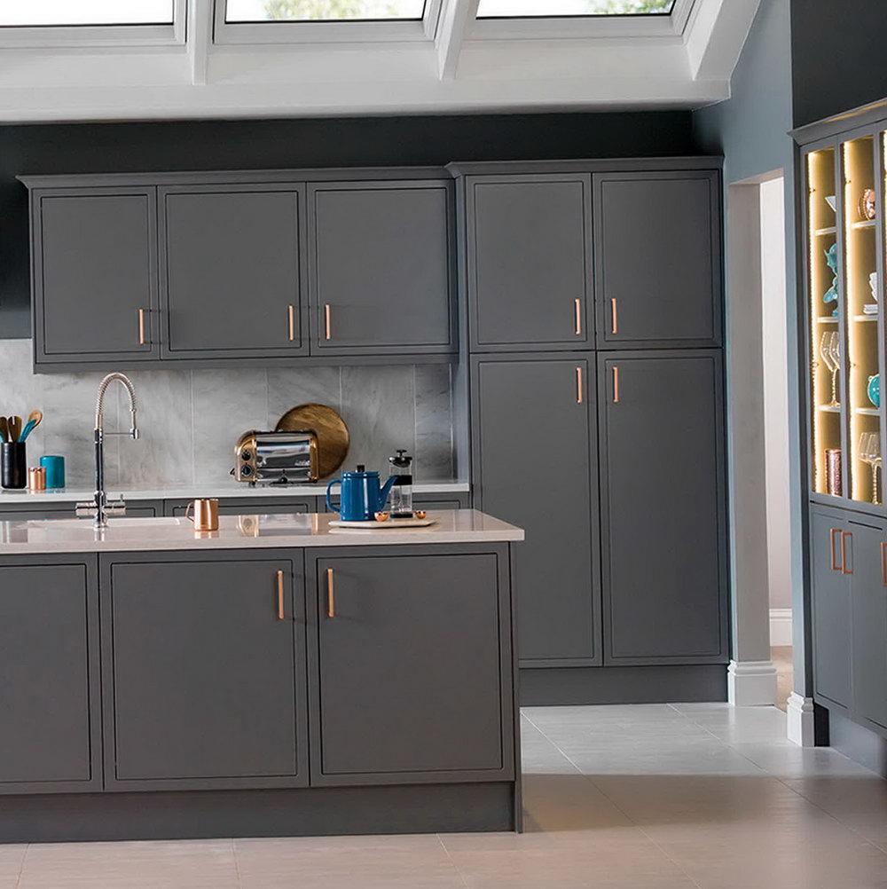Dark Grey Kitchen Cabinets With Copper Handles