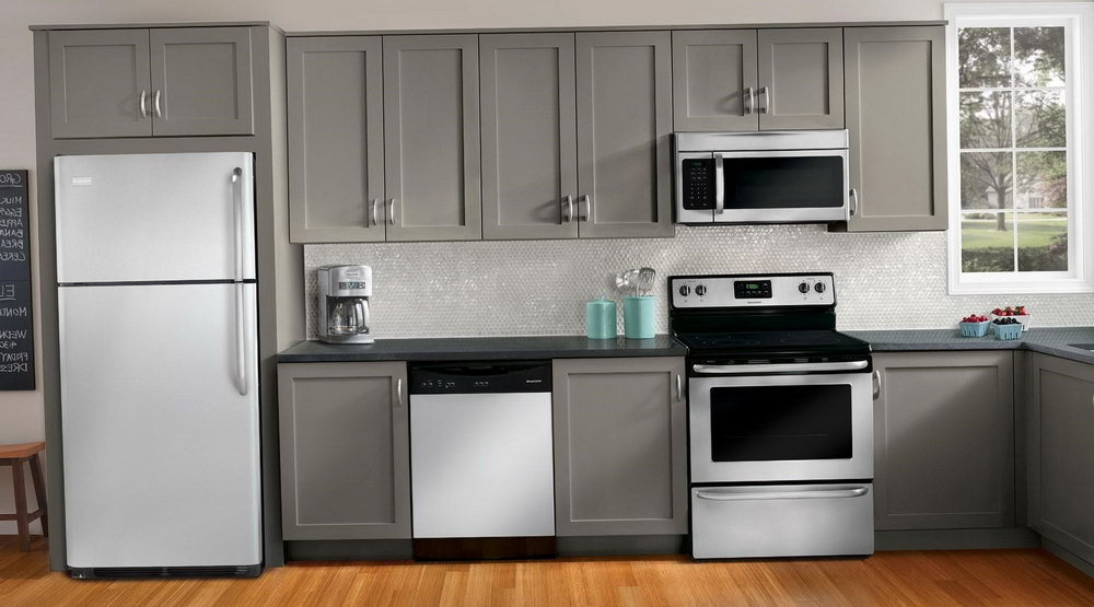 Dark Grey Kitchen Cabinets With White Appliances