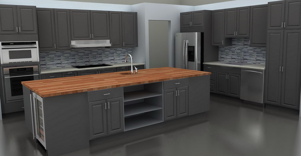 Dark Grey Painted Kitchen Cabinets