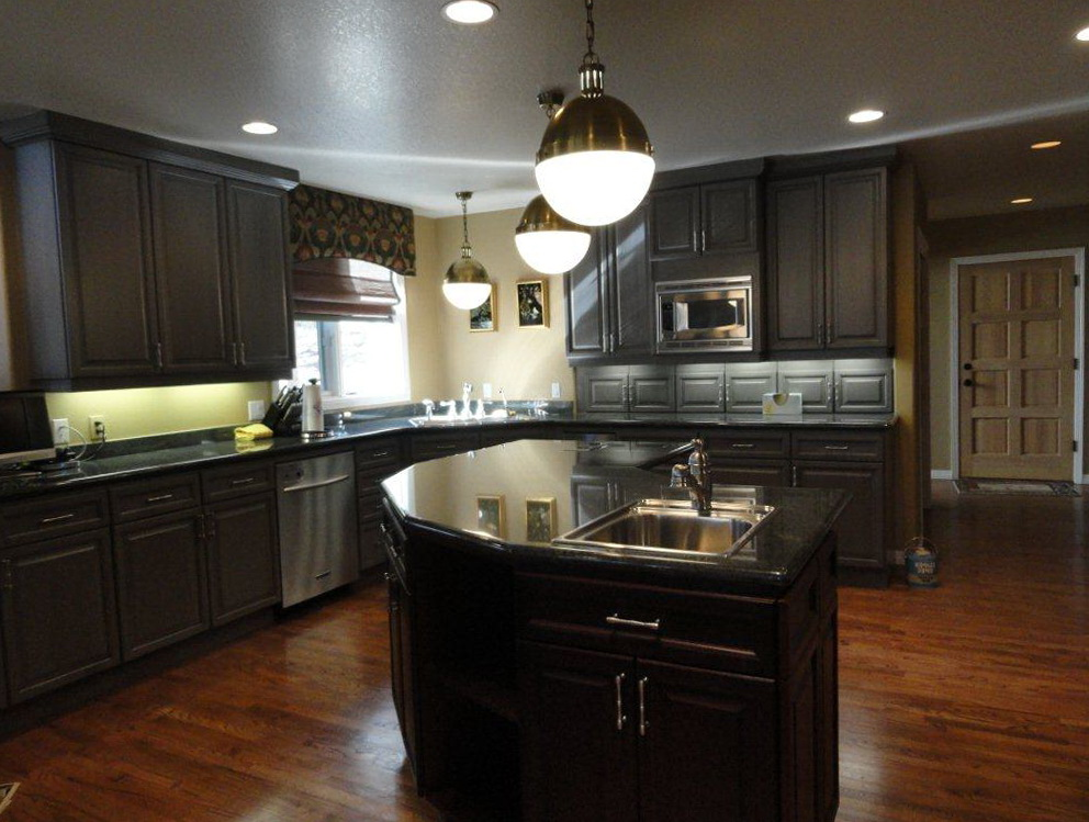 Dark Painted Cabinets In Kitchen